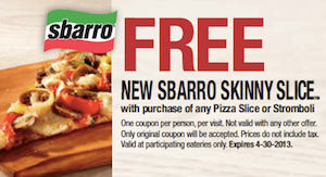 While these coupons will get you a great deal, new offers are being added daily. Sbarro is best known as a pizza chain, but you might be surprised to learn their menu offers much more. Stop at any location to find a delicious selection of authentic Italian food and fresh salads.