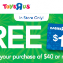 Toys R Us: FREE $10 Gift Card with $40 Purchase