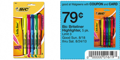 Walgreens Bic Highlighter Deal
