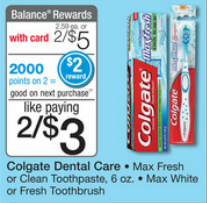 Walgreens Colgate Max Fresh