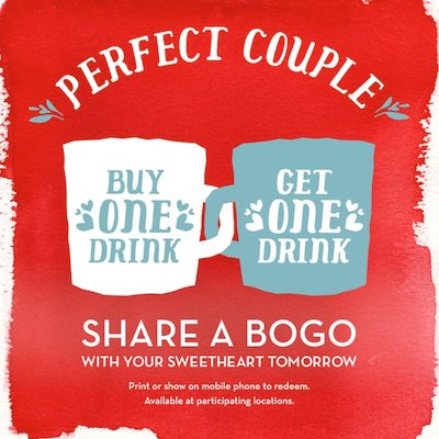 Caribou Coffee B1G1 FREE Drinks (2/14 Only)