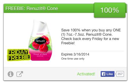 SavingStar FREE Renuzit Cone