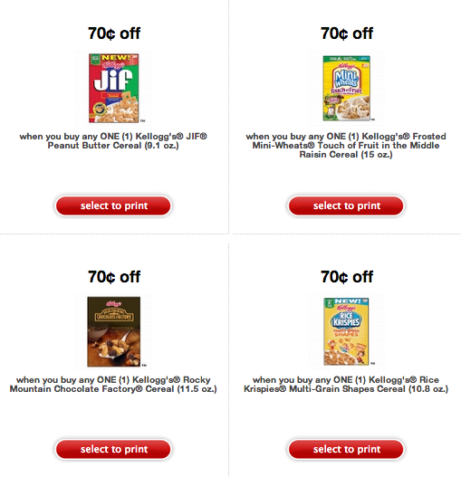 Kelloggs Cereal Printable Coupons