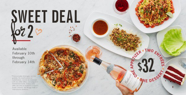 california pizza kitchen valentines day deal
