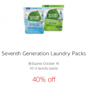 40% off Seventh Generation Laundry Packs Cartwheel Offer ($4.01 at Target)